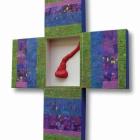 Križ (Asemblaž), akril in kolaž na lesu, 70x60x4 cm, 2011