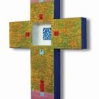 Križ, akril in kolaž na lesu,40x30x4 cm, 2011