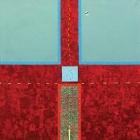 Pot h križu (Strunjan), kolaž/karton in akril na platnu, 80x80x4 cm, 2012