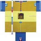Posvečeno Cimabue-ju, kolaž/karton in akril na lesu, 80x80x8 cm, 2018