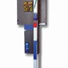 Posvečeno Cimabue-ju, kolaž/karton in akril na lesu, 55,5x21x9 cm, 2018